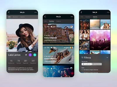 Events app tabs filter ui design mobile app design social photos gallery event profile visual ui ux ui mobile events app