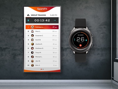 SparkFit : Group Training System Concept art direction concept fitness group training interaction design uiux leaderboard wearables product design