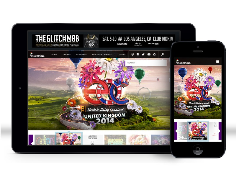 Insomniac : Home Page art direction homepage edc techno insomniac interaction design mobile design web design uiux