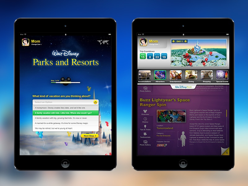 Disney : Parks & Resorts Planner App planner app user experience app design tablet design art direction interaction design uiux product design disney
