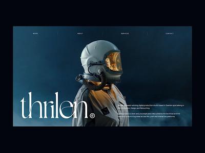 Thrilen® Website dark ui smoke cosmos astronaut space digital studio portfolio website after effects white animation website design minimalism ux ui ux design ui design