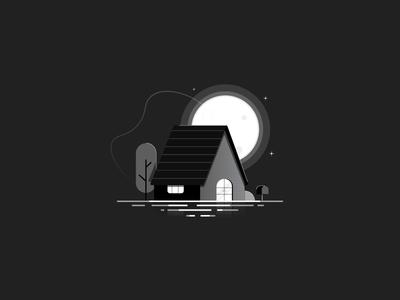 The House Of Shades moonlight night mode moon night house graphicsdesign illustration flat design