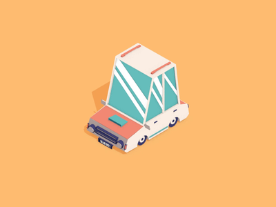 EndLess journey... offroad stones cactus car design gif isometric cinema4d c4d after effects motion graphics animation flat design