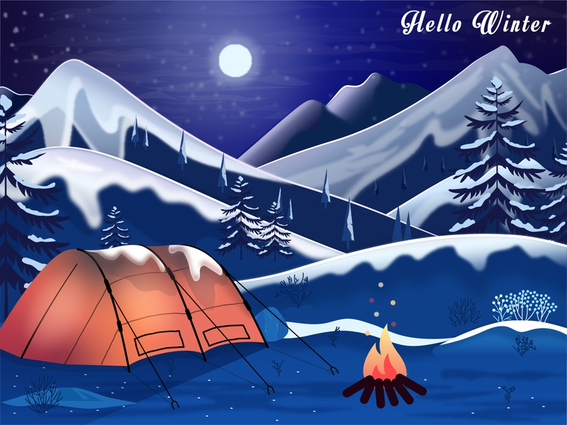 Ready for freezing ? bonfire camping trees mountain ice winter is coming night winter 2d vector design illustration flat design