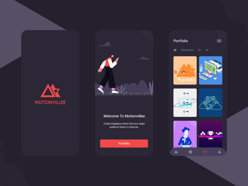Motionvillee Concept App :) animation motion design sketch screen flat app mobile app illustraion ux modern design mobile welcome portfolio branding design ui flat design