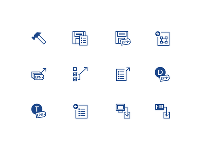 Icons for a Process Application blue minimal flat illustration icons user interface