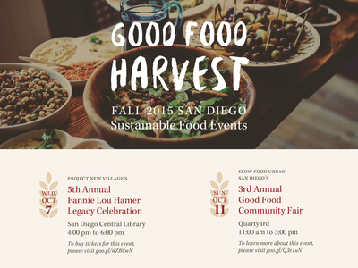 Good Food Harvest Flyer flyer event san diego sustainable agriculture food
