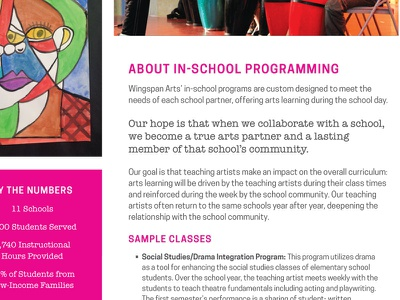 In-School Program Info Sheet community school children education arts