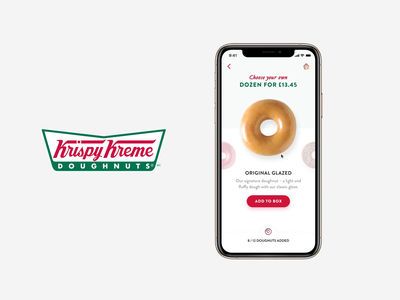 Krispy Kreme - Browsing Doughnuts shopping cart shopping bag og glazed quantity box browsing basket checkout product design app design design donut doughnut user interface ux ui