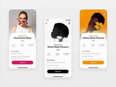The Flowerpuff Girls mobile design design product design cart product mask black and white orange pink flowers flower ux user interface ui
