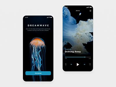 DreamWave sound animation video clean drift dreaming meditation calm deep audio player music audiobook landing orange blue jellyfish wave sleep audio dream