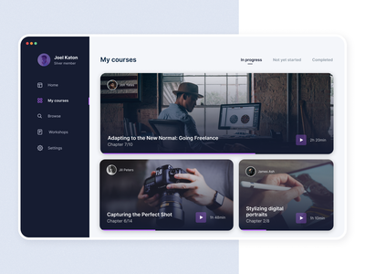 Course Hub purple freelance photography landscape tablet ipad dashboard tutorial tutorials lessons workshop video online classes online class teaching learning platform learning education courses course