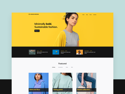 Monochroma sections modular design colorfull ecommerce store landing page pastel pantone grey yellow clothing ecology sustainable fashion bold colors colorful bold monochrome
