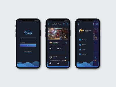 Gamer's Social App Dark Theme ux ui