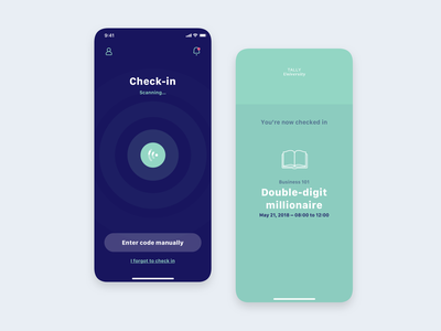 Tally Student Check-in minimalistic minimal simple product product design sketch design blue app design app mobile design user experience mobile user interface ux ui