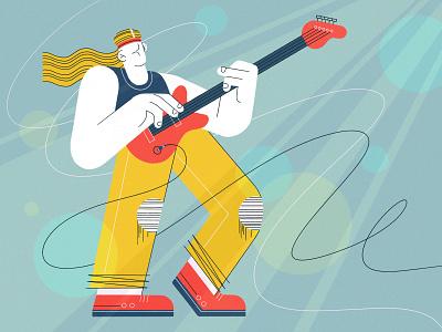 Bass Guitarist rockstar rock guitarist guitar ui procreate character character design illustration