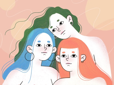 Sisters character illustration beauty feminine sisters people procreate girls character character design illustration