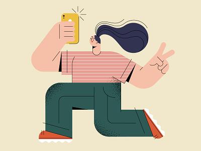 Selfie selfie phone vector illustration free ui girl character vector character design illustration