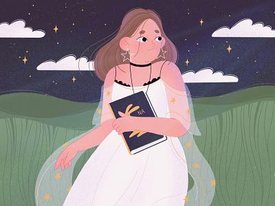 Night magic magic night girl product digital art procreate character illustration character character design illustration