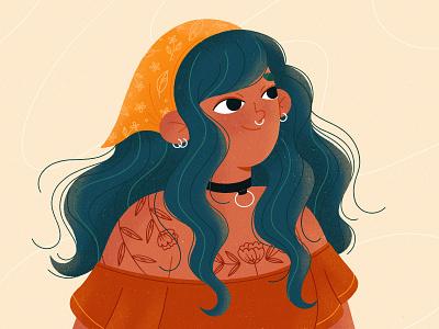 Rebel girl draw design piercing tattoo woman lady girl illustration product procreate character illustration girl character character design illustration