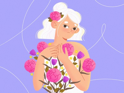 Flowers everywhere girl flat floral flowers ui mobile character illustration procreate character character design illustration