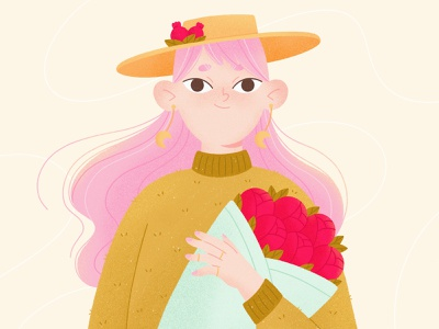Girl with a bouquet 2d procreate ui mobile illustraion girl bouquet flowers floral character illustration character design character