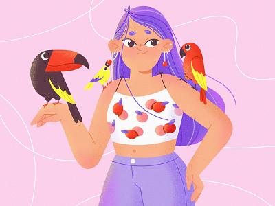 Summer birds vector female web illustration texture flat summer birds girl 2d illustration art mobile procreate character illustration character character design illustration