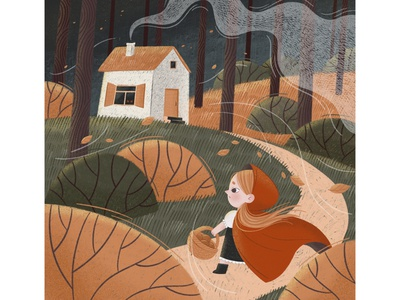 Little Red Riding Hood house wind texture little red riding hood red wood book art childrens illustration childrens book children book illustration character illustration procreate character character design illustration