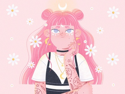 Pastel girl floral stars daisy pastel pink tattoo flowers texture illustration art female 2d design character illustration girl procreate character character design illustration