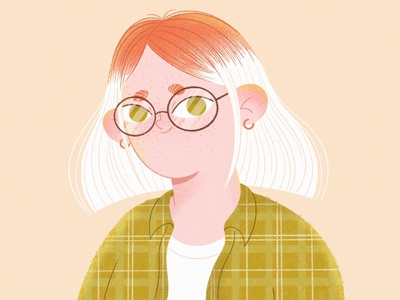 This is me 2d portrait self portrait web illustration vector glasses ginger blond freckles texture illustration art mobile people character illustration girl procreate character character design illustration