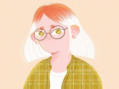 This is me 2d portrait self portrait web illustration vector glasses ginger blond freckles texture illustration art mobile people character illustration girl procreate character character design illustration