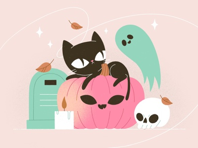 Happy Halloween! vector candle autumn fall leaves magic grave ghost pumpkin cat procreate character illustration character character design illustration