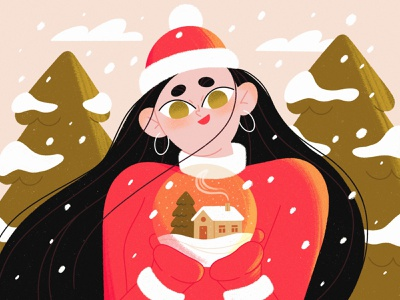 LET IT SNOW! woman christmas tree snow globe snow xmas christmas character illustration procreate character illustration