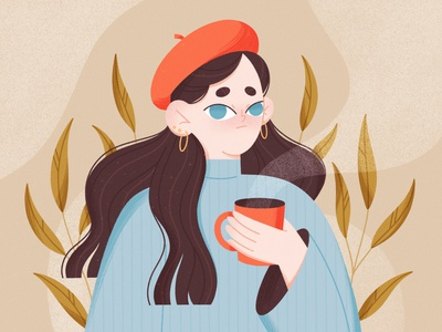 Hot tea vector procreate leaves 2d tea woman character character design character illustration illustration drawthisinyourstyle dtiys