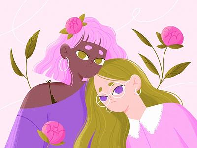 GIRLS GIRLS floral flowers womans feminine girls character illustration vector procreate character character design illustration