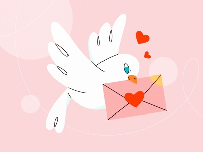 Be my Valentine! message bird dove love st valentines day valentine cute 2d character illustration procreate character character design illustration