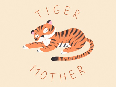 TIRED TIGER MOTHER 2d tired tiger animal illustration cute character illustration vector procreate character character design illustration