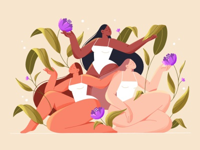 Blooming spring texture shape body creative floral spring feminine women girls bloom flowers procreate character design character illustration character illustration