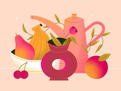 Good morning! morning colorful food gradient vases floral leaves flower fruit texture vector procreate illustration