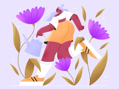 Let it grow girl growth flowers vector character illustration procreate character character design illustration