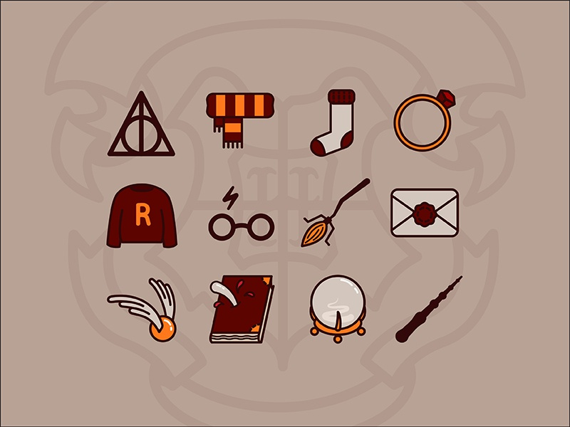 Harry Potter icons harry potter hogwards vector icons