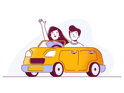 Carpool cute boy girl characters drivers carpooling driver app car ui character design illustration vector