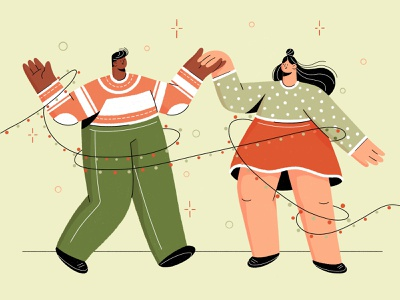 Christmas Party dancing party xmas character design people illustration christmas character