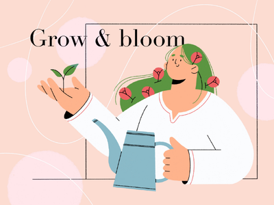 Grow & bloom procreate people girl illustration grow bloom flowers character design character
