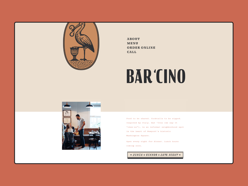 Bar 'Cino Restaurant + Cafe layout branding cafe restaurant vintage web design