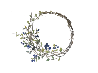 Digitalized Watercolor: Blueberry Wreath
