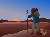 Hiking At Sunset Vector Illustration