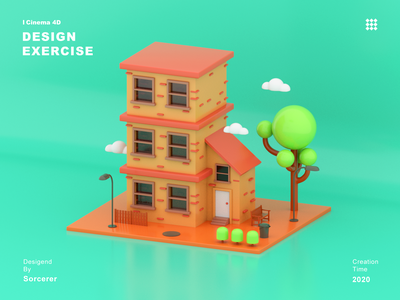 Small house 3d 3d art c4d branding vector