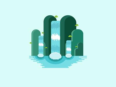 Cartoon style waterfall typography design logo illustration