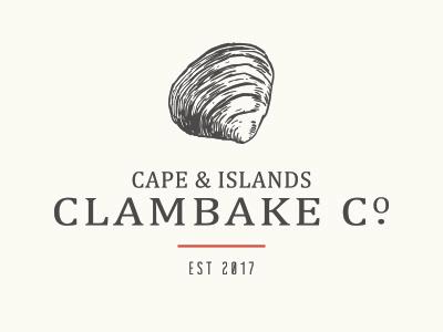 Cape & Islands Clambake Co. Main Logo print identity clam branding logo beverage food clambake